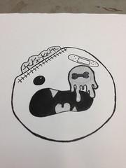 Zombie doodle (becca.blythe<3) Tags: eye art college pen pencil circle fun weird sketch head zombie ooak teeth brain drip doodle round half bone draw hb bold hobbie bordem