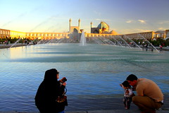 Capturing Her World (Gee 2 Gray) Tags: world old family woman man water fountain square photo twilight child iran mosque iranian fountains bazaar esfahan isfahan chador