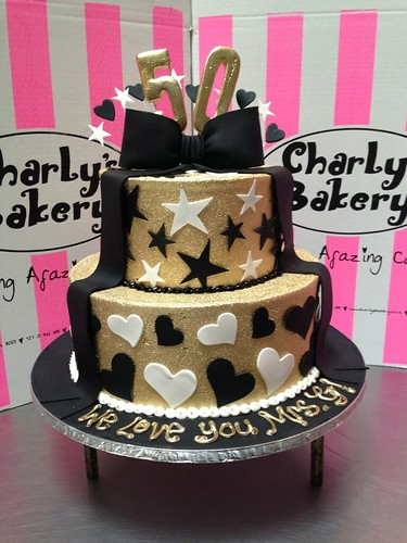 Superb 2 Tier Birthday Cake Iced In Gold Butter Icing And Black Fondant Birthday Cards Printable Nowaargucafe Filternl