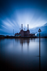 Power (jellyfire) Tags: city longexposure nightphotography blue england sky urban london thames architecture canon buildings energy power purple unitedkingdom lighttrails bluehour batterseapowerstation neutraldensity 1740mmf4lusm canon5dmkii leebigstopper vision:mountain=0625 vision:clouds=0582 vision:outdoor=098 vision:sky=0963