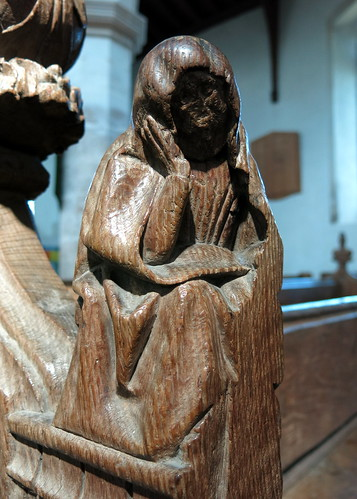 A 15th C. bench end carving, the Church of St Peter and St Paul, Fressingfield, Suffolk, England