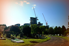 The dead did not take part in the planning consultation... (HoosierSands) Tags: london berkeley cranes ucl studentaccomodation actoncemetery actonealing