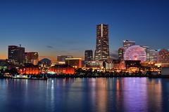 Yokohama Twilight Time (mon_masa) Tags: city longexposure sea reflection water buildings bay twilight cityscape nightscape dusk mountfuji ferriswheel nightview yokohama hdr magichour mtfuji bluemoment