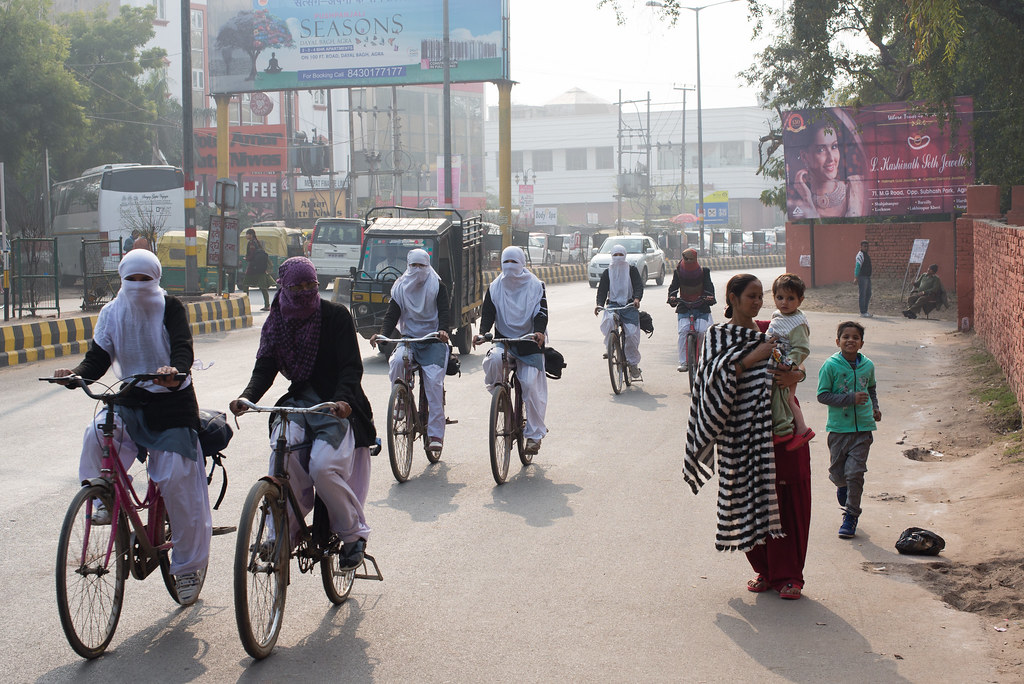 Ladies cycling in Agra