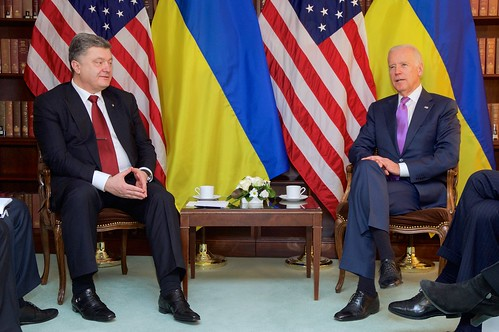 Vice President Biden Sits With Ukrainian President Poroshenko Before Meeting on Sidelines of Munich Security Conference