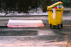 mattrasses (companion) (Tina Kino) Tags: street pink winter color berlin yellow digital kreuzberg bin sidewalk mattress 2015 ilobsterit tinakino