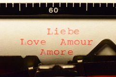 Liebe, Love, Amour, Amore (nuci174) Tags: macro rot love typewriter hope faith sigma amour makro papier herz amore 60 liebe fede schreibmaschine hoffnung 105mm glaube sigma105 croyance