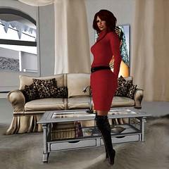 I want that red dress bad (Teddi Beres) Tags: life red sexy beautiful design living sweater poem dress furniture interior room redhead sl seond