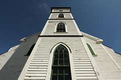 Towering (Karen_Chappell) Tags: blue windows white church window architecture newfoundland wideangle nfld torscove canonefs1022mm avalonpeninsula