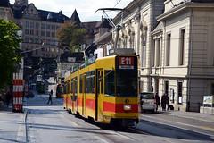 BLT 240-Basel (lhb-777) Tags: street city railroad public yellow track swiss trolley centre transport siemens tram style basel stadt rails op bahn geel centrum stad blt spoor straat stassenbahn gleis schienen zwitserland helling vervoer streek simatic openbaar steil passagiers