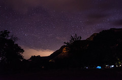 Camp at Night (wrgenec) Tags: park travel camping sky night stars outdoors evening utah lowlight desert hiking national zion