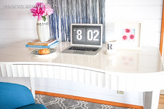 2016 0527 Large Writing Desk in High Gloss White _ Full Size-7 (Phoenix Restoration | Furniture by Christina) Tags: seattle white phoenix modern writing french high europe desk furniture contemporary painted fine gloss restoration paints provincial edmonds