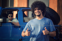Afro Smile (dr.7sn Photography) Tags: portrait smile hair happy photographer jeep good afro like style professional 80s 70s jeddah portret hairstyle saudiarabia blueshirt hydra 90s wrangler jeepwrangler       thehydra          ilrasli redoz hudroblue