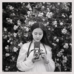 wind and rosebushes (derek*werner) Tags: bw film girl monochrome beauty rollei rolleiflex chinese protrait epson 50 rodinal tianjin ilford planar panf 28f v850 gtx980