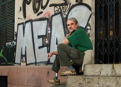 Tomas (Charles Hamilton Photography) Tags: 35mm graffiti streetphotography streetportrait naturallight stranger palma palmademallorca characterstudy primelens peopleinthecity charleshamilton colourstreetportrait nikond7000