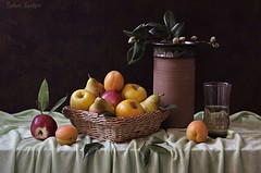 Ripe Fruits (Esther Spektor - Thanks for 11+ millions views..) Tags: red stilllife food orange brown green apple water glass yellow fruit composition canon leaf stem rust basket availablelight harvest plum stilleben pear jar pottery apricot drape bud tablecloth tabletop bodegon naturemorte naturamorta naturezamorta creativephotography artisticphoto estherspektor
