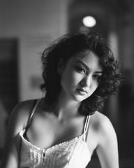 Yuriwaifu (barryola_) Tags: film hp5 hp5plus ilford mamiya pushprocess rz67 whitedress blackandwhite bw portrait girl naturallight windowlight dress curlyhair filmphotography mediumformat