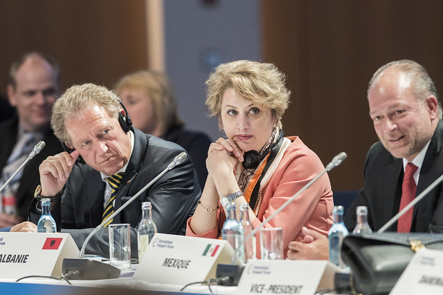 Norbert Barthle and Argita Totozani at the Closed Ministerial Session