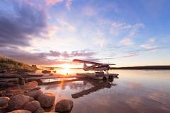 MacKenzie River Sunset, Fort Simpson (adamhillstudios) Tags: sunset summer canada plane canon river landscape aviation air mackenzie northwestterritories float simpson