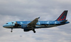 Brussels Airlines (Magritte Livery). OO-SNC. Airbus A320-214. (Themarcogoon49) Tags: switzerland airport aircraft magritte landing airbus a320 planespotting gva cointrin avgeek