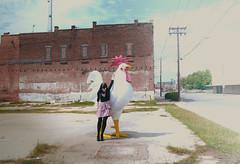 fuckin chicken. (roadkill rabbit) Tags: brick abandoned chicken girl buildings giant weeds shreveport