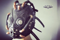 Leather mask with plstic tubes and brass pipes. Designed at www.dieselpunk.ro. #Cyberpunk #CyberGoth #postapocalyptic #postapocalypse #steampunk #steampunkmask #leathermask #handmade #LARP #dieselpunk #leather #Darkart #costume #burningman (tovlade) Tags: black girl face make up leather punk hand mask goth goggles made doctor cyber cybergoth cyberpunk plague larp steampunk postapocalyptic postapocalypse dieselpunk