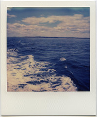 ocean. (ten minutes) Tags: ocean sea color film water polaroid sx70 boat marthas vineyard massachusetts atlantic instant impossible