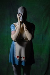 Alice in Wasteland 4 (MissCassandra) Tags: blue white mask cosplay gas gloves latex aliceinwasteland