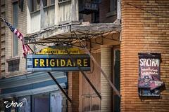Store front in Abandoned Shawnee Ohio (Steve Stambaugh Jr.) Tags: ohio abandoned sign nikon antique urbanexploration shawnee frigidaire abandonedtown d5500 55300mm