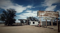 Riverfront is a bargain...on old route 66 (BillsExplorations) Tags: california abandoned vintage route66 rust ruins closed decay flamingo 66 historic gas gasstation route forgotten riverfront servicestation