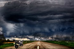 Further on up the road ... (bainebiker) Tags: bmwk1300s motorcycle road storm turbulentweather sky countryroads stormscape canonef24mmf14liiusm tonemapped crowland lincolnshire uk astormbrewing