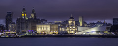 Liverpool Waterfront at night (ianandbarbara.bonnell@btinternet.com) Tags: city uk england urban water night liverpool buildings river cityscape waterfront nightscape threegraces mersey pierhead merseyside liverbuilding mannisland