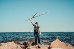Oh Hello (LauraJSwindle) Tags: ocean summer ny newyork man beach boyfriend water june beard boat rocks waves parks places longisland human northfork armenian 18mm 80smovies 2016 orientpointstatepark nikond7100