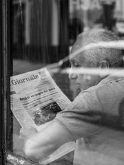Morning Newspaper (Norbert Eder) Tags: street people blackandwhite italy white man black coffee caf monochrome newspaper streetphotography sicily catania sizilien