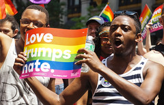 Love trumps hate (EC Stainsby) Tags: street nyc newyorkcity summer usa ny newyork fun outdoor colorfull pride parade east lgbt avenue fifth thirtieth colourfull sunnny