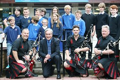 Joining Red Hot Chilli Pipers and local schoolchildren to promote Haddington concert