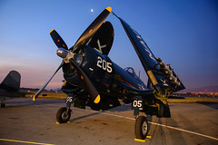 Corsair At Dawn (Trent Bell) Tags: california airport aircraft airshow socal corsair warbird chino planesoffame f4u 2013