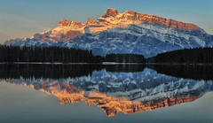 Sunrise at Two Jack Lake (Jeff Clow) Tags: morning reflection landscape dawn bravo mountrundle albertacanada banffnationalpark canadianrockies twojacklake tpslandscape