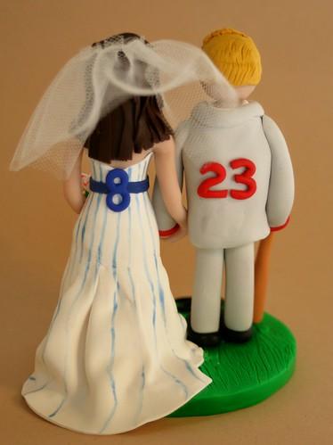 baseball bride and groom wedding cake topper