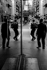 Won't you join the dance? (Latecomer (4tunesphotos)) Tags: street city bw dance melbourne coordination xpro1