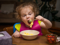 Hannah Dines: Channeling Her Inner Jack Nicholson (Entropic Remnants) Tags: pictures camera family children lens photography photo child image photos pics eating flash picture pic olympus images panasonic g5 photographs photograph dining f28 remnants entropic 1235mm fl600r dmcg5