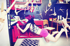 Milk & Barbie (andreannelupien) Tags: pink red cooking kitchen girl wall tattoo table fly flying lego body telephone barbie cook levitation piercing tattoos creation montage imagine imagination concept barbies conceptual ideas pinkhair dyehair
