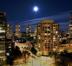 (nredmond) Tags: street city sky urban night vancouver lights exposure portfolio carlights nightline supermoon