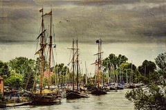 1812 Tall Ships - Port Dalhousie Harbour (Paul B0udreau) Tags: morning sky ontario canada texture water birds boats boat nikon ship harbour seagull gimp samsung overca