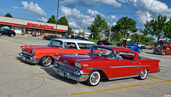 Chevys (Chad Horwedel) Tags: red classic chevrolet belair car illinois chevy nomad impala downersgrove chevyimpala 1958chevyimpala cozzicorner 1957chevynomadbelair chevynomadbelair