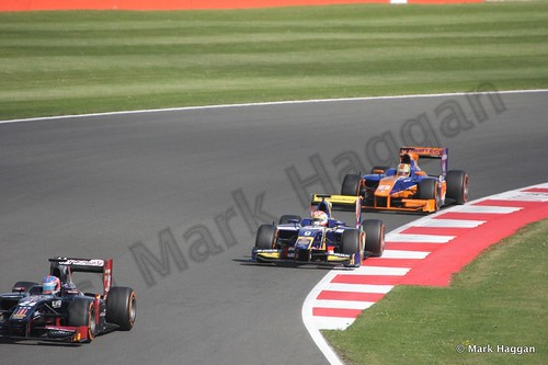 Felipe Nasr and Robin Frijns in the second GP2 race at the 2013 British Grand Prix