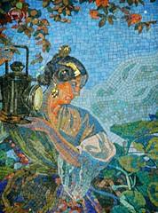 Spain - Valencia - Isn't she wonderful? (G524_persoon2) Tags: valencia colors station spain mosaics railway catchy spanje mozaiek