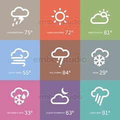 Weather icons (Ember Studio) Tags: snowflake sky sun moon snow storm hot cold rain weather sign hail set illustration clouds season design symbol wind cloudy sunny icon drop application collection clear rainy thunderstorm temperature vector climate forecast element prediction app meteorology indicator indication iconset