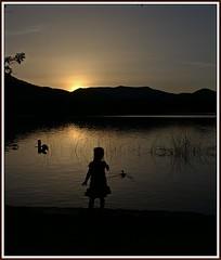 La nena que parlava amb els necs (Joan Ruiz) Tags: silueta nena contrallum postadesol reflexes robat anecs estanydebanyoles