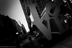 NYC - Aug 2013-373 (fabfotophotography) Tags: nyc newyorkcity red bw sculpture color colour tower art history love architecture century buildings manhattan lateshow pop international trump columbuscircle cbs davidletterman robertindiana lovesculpture applejackdiner